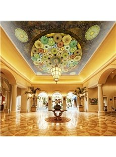 3D Colored Flowers Printed PVC Waterproof Sturdy Eco-friendly Self-Adhesive Ceiling Murals