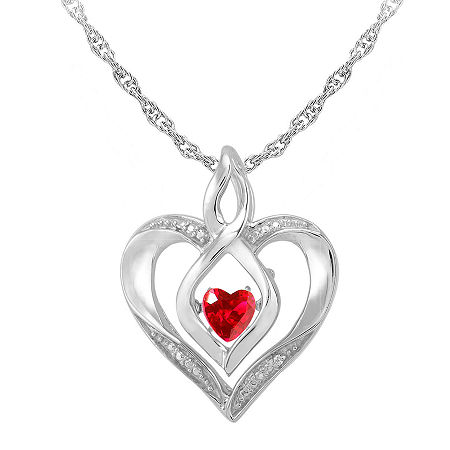 Love in Motion Lab-Created Ruby & Diamond-Accent Sterling Silver Heart Pendant Necklace, One Size , No Color Family