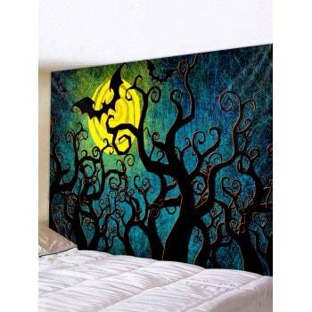 Halloween Digital Print Tree Bat Waterproof Tapestry
