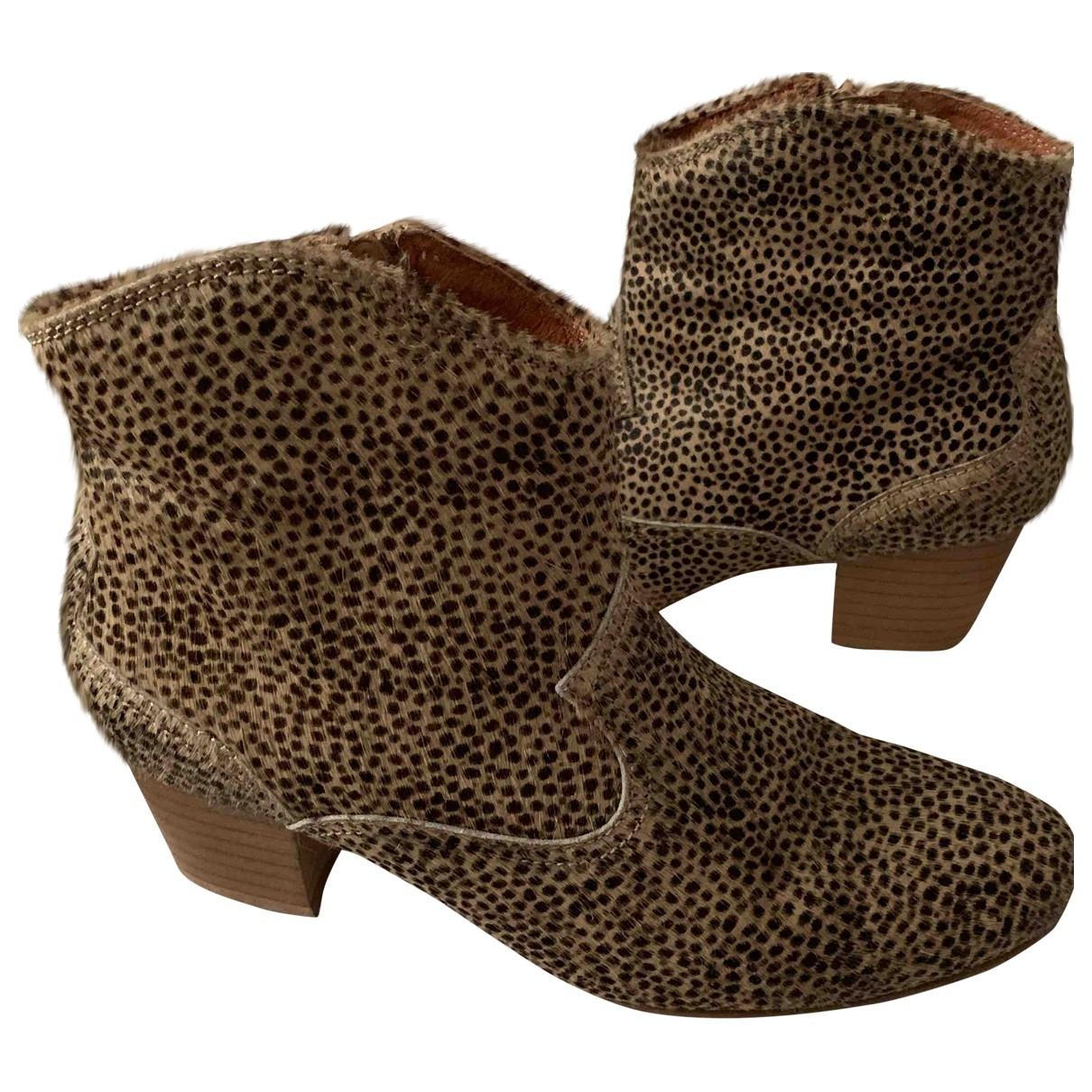 Topshop - Bottes   pour femme en veau facon poulain - camel