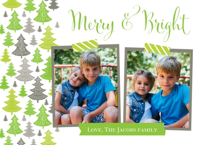Christmas Photo Cards Flat Matte Photo Paper Cards with Envelopes, 5x7, Card & Stationery -Merry & Bright Christmas Card