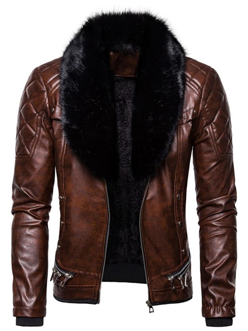 Ericdress Stand Collar Plain Zipper Punk Slim Mens Jacket