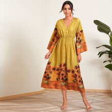 Sunflower Print Half Button A-Line Dress
