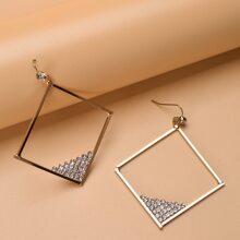 Rhinestone Decor Square Charm Drop Earrings