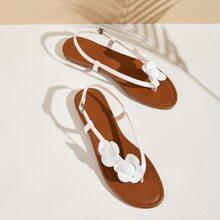 Sandalen mit Blumen Applikation und Fersenriemen