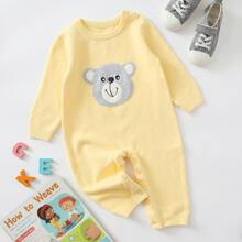 Baby Girl Cartoon Bear Graphic Knit Jumpsuit