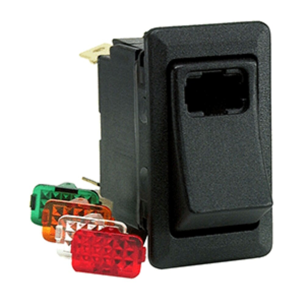 3 Black Rocker Lighted Switch With Four Blade Lens (Black)