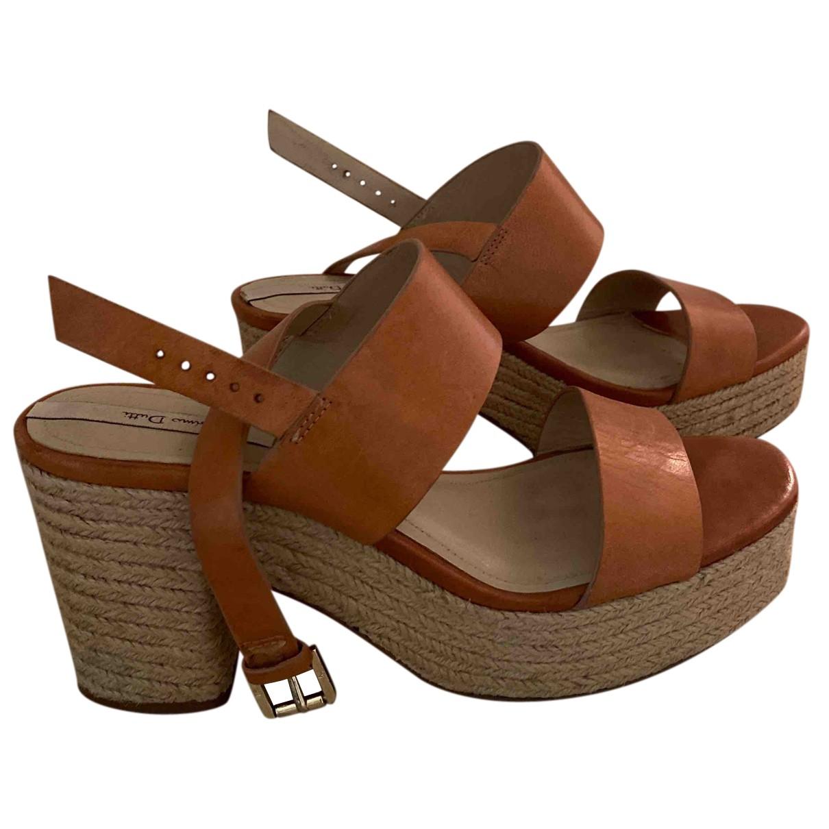 Massimo Dutti - Boots   pour femme en cuir - camel