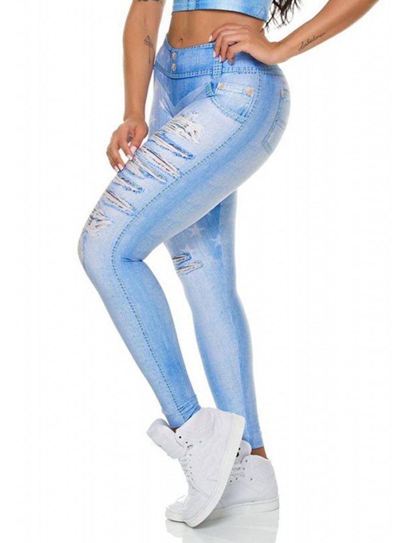 Ericdress Shredded Jeans Print High Waist Shaping Womens Leggings