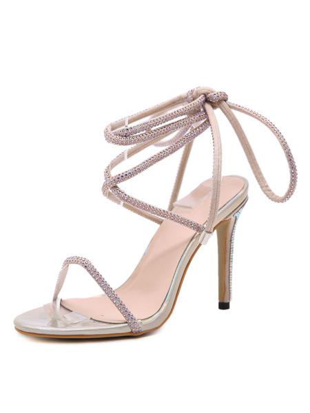 Milanoo High Heel Sandals Womens Lace Up Rhinestones Open Toe Slingback Stiletto Heel Sandals