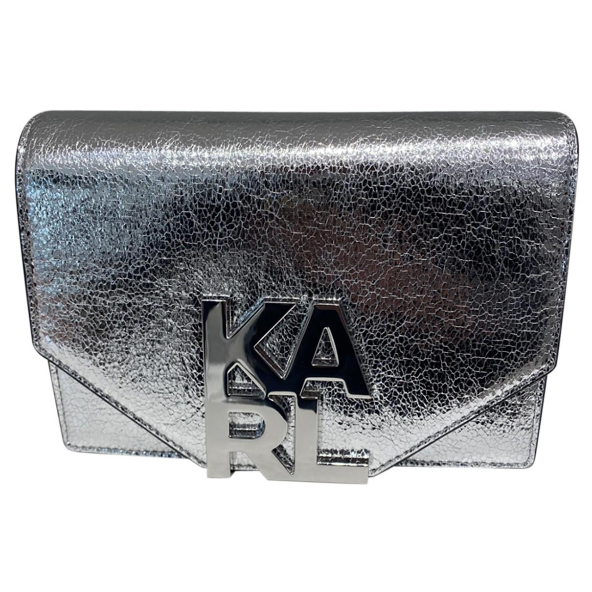 Karl Lagerfeld N Silver Leather Clutch bag for Women N