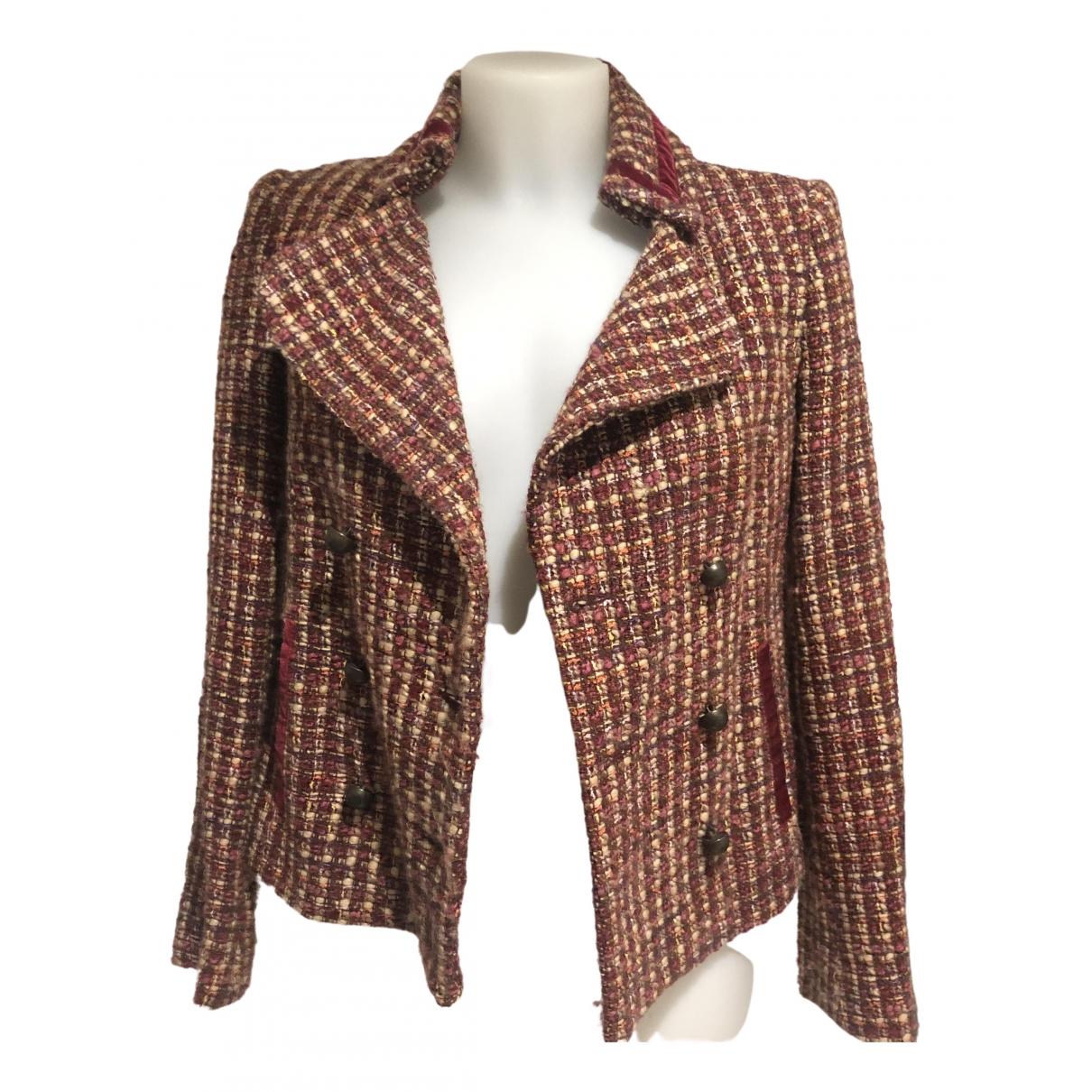 Zara - Veste   pour femme en tweed - bordeaux