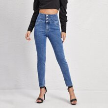 Schmale Jeans mit hoher Taille und Knopfen vorn