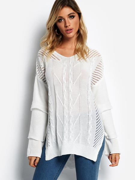 Yoins White Hollow Design V-neck Bell Sleeves Sweater