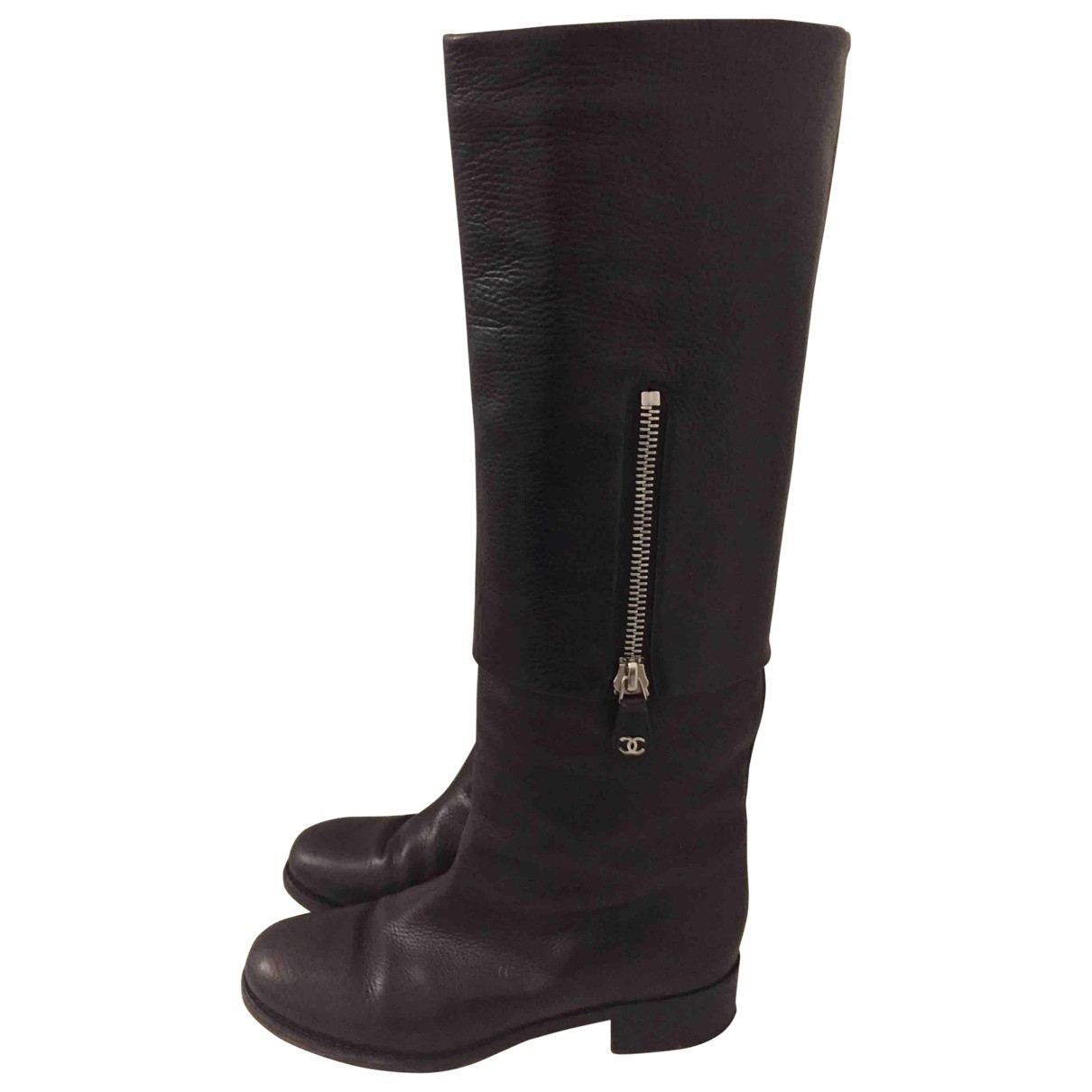 Chanel \N Brown Leather Boots for Women 39.5 EU