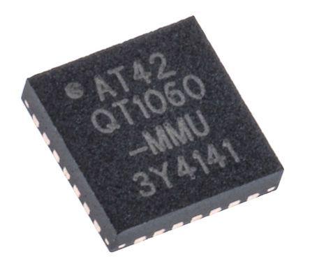 Microchip AT42QT1060-MMU, Spread-Spectrum Charge-Transfer Touch Screen Controller, 8 bit Serial-I2C, 28-Pin QFN (2)