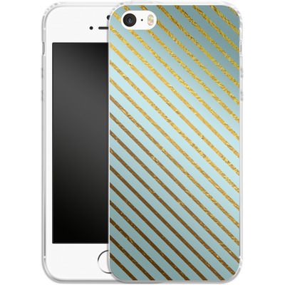Apple iPhone SE Silikon Handyhuelle - Gold Foil Stripe von Khristian Howell