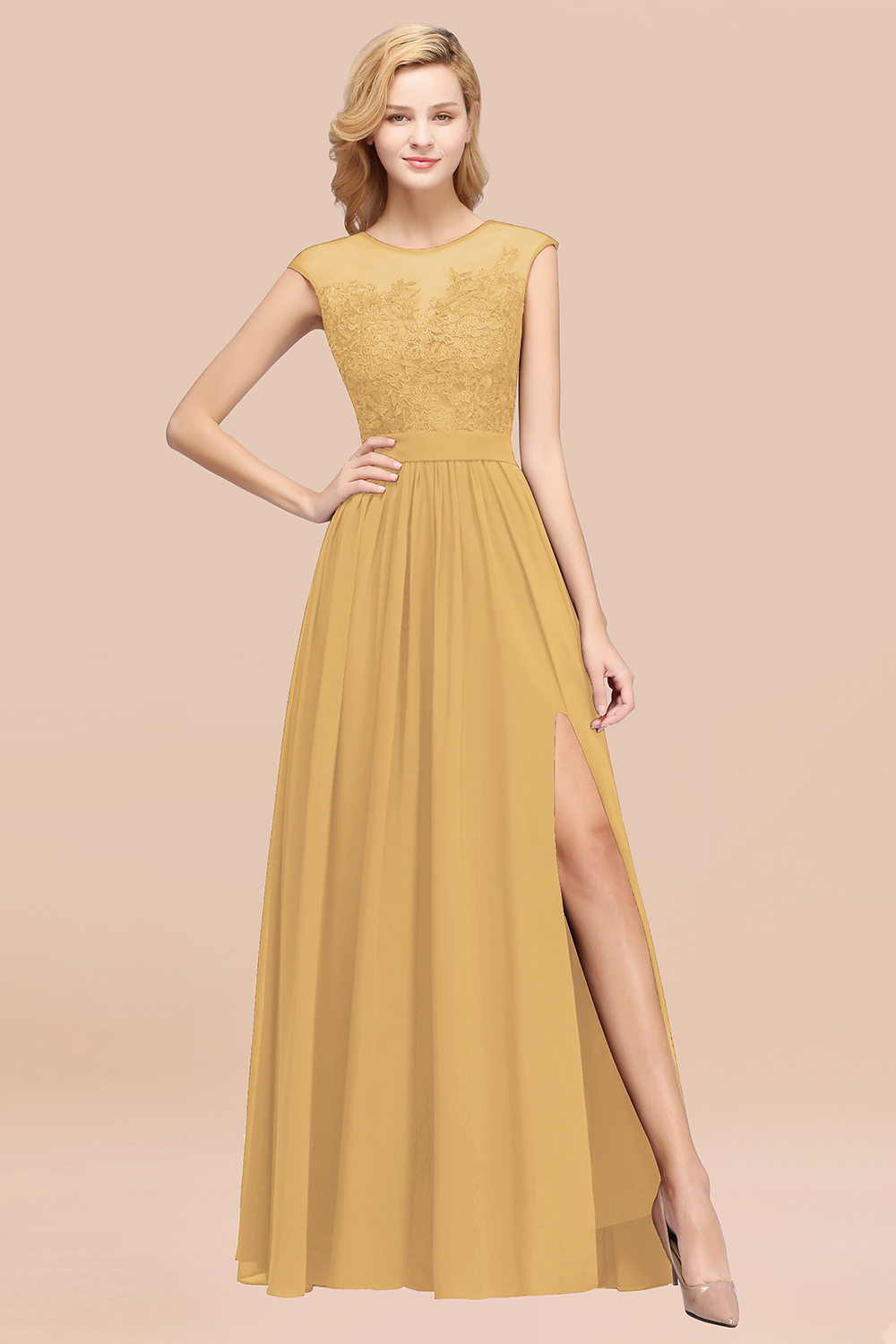 BMbridal Affordable Scoop Lace Appliques Yellow Bridesmaid Dresses with Slit