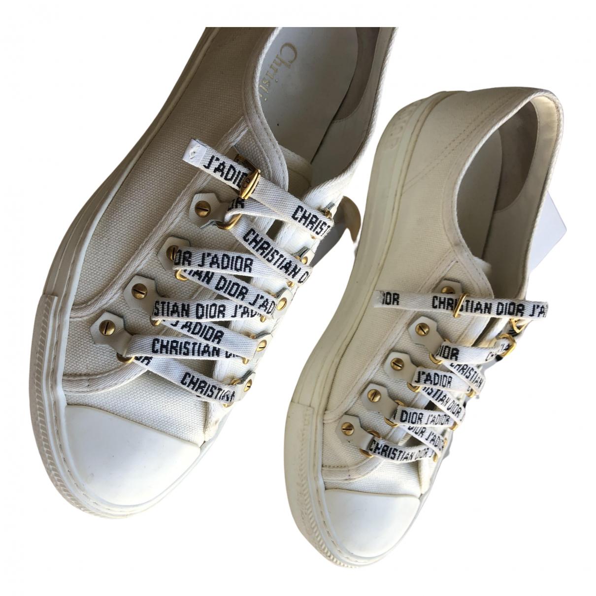 Dior Walk 'n' Dior White Cloth Trainers for Women 37.5 EU