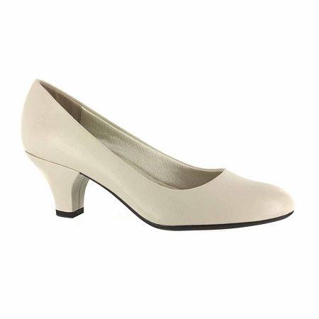 Easy Street Womens Fabulous Pumps Cone Heel, 6 1/2 Wide, White