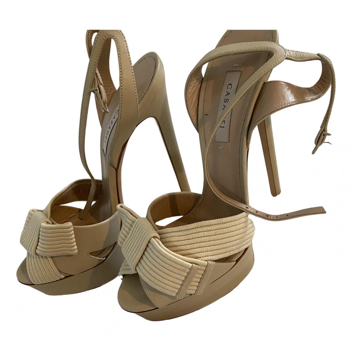 Casadei N Beige Leather Sandals for Women 39 EU