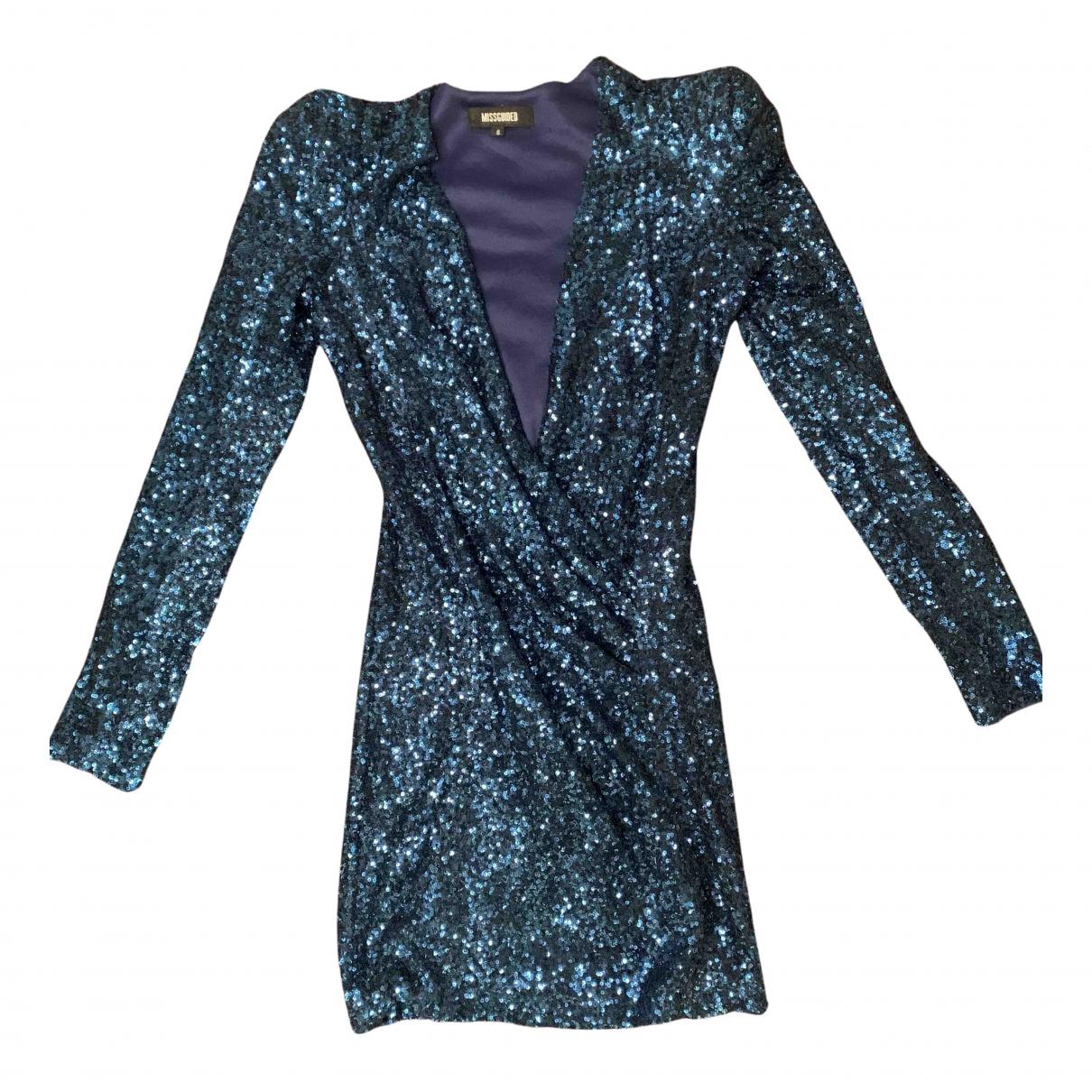 - Robe   pour femme en a paillettes - bleu