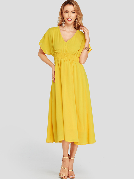 YOINS Neon Yellow Deep V-neck Bat Sleeve Stretch Waistband Dress With Lining