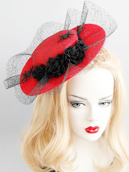 Milanoo Retro Royal Hat Red Spider Tulle Mujeres Vintage Headpieces