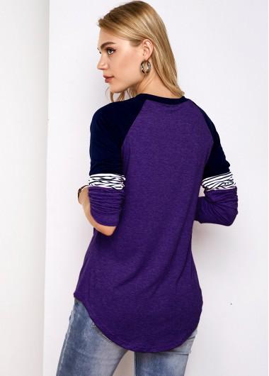 Contrast Round Neck Stripe Print T Shirt - XL