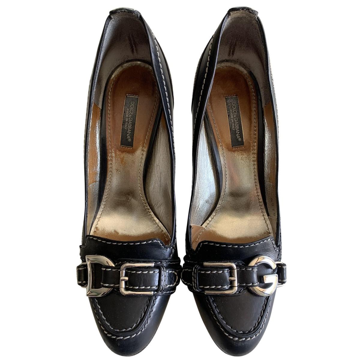 Dolce & Gabbana \N Black Leather Heels for Women 37.5 IT