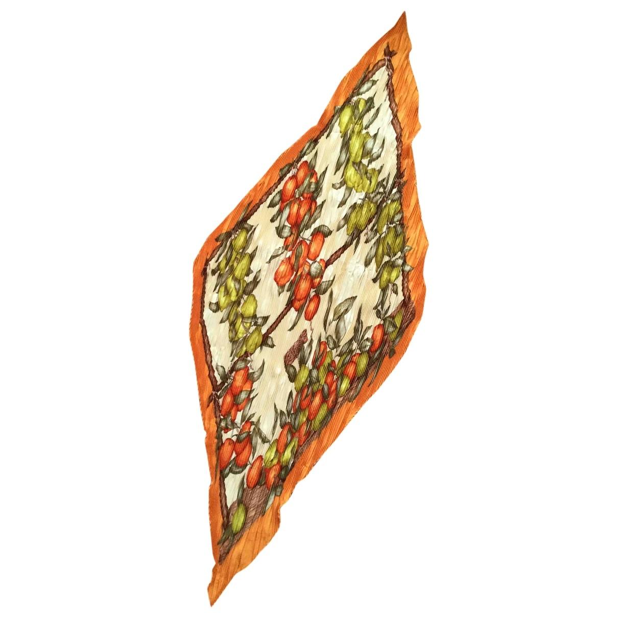Hermes Plisse Tuecher in  Orange Seide