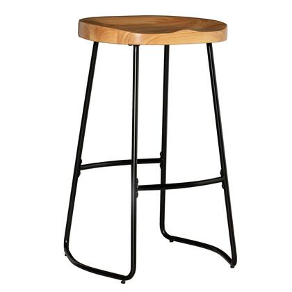 BS217NAT01U Tate Collection Bar Height Stool with Wood Tractor Style  Seat  Solid Wood and Metal Frame in Black