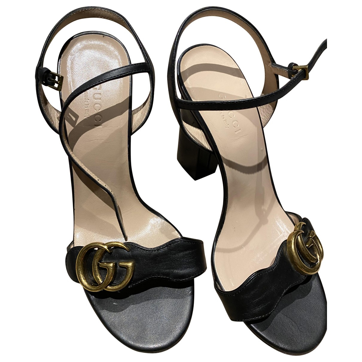 Gucci Marmont Black Leather Sandals for Women 36 EU