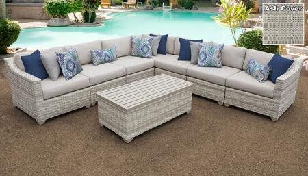 Fairmont Collection FAIRMONT-08a-ASH 8-Piece Patio Set 08a with 1 Corner Chair   4 Armless Chair   1 Storage Coffee Table   1 Left Arm Chair   1