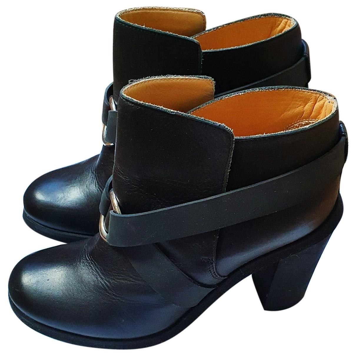 Maison Martin Margiela \N Black Leather Ankle boots for Women 37 EU