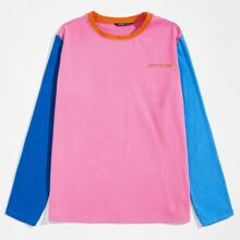 Men Letter Embroidery Colorblock Tee