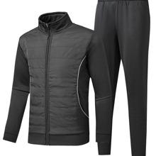 Conjunto cazadora con cremallera acolchada en contraste con pantalones deportivos
