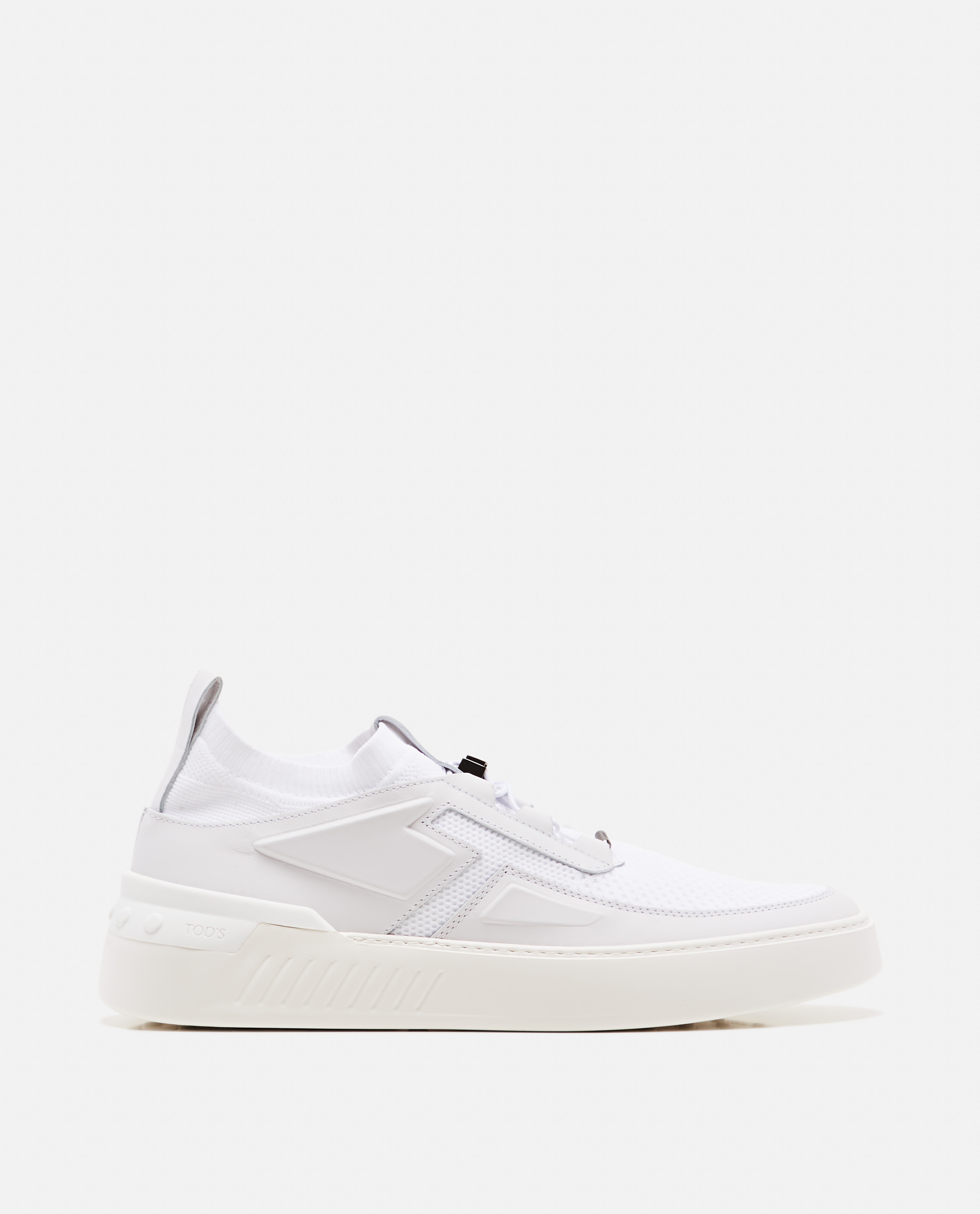 Low white leather sneakers