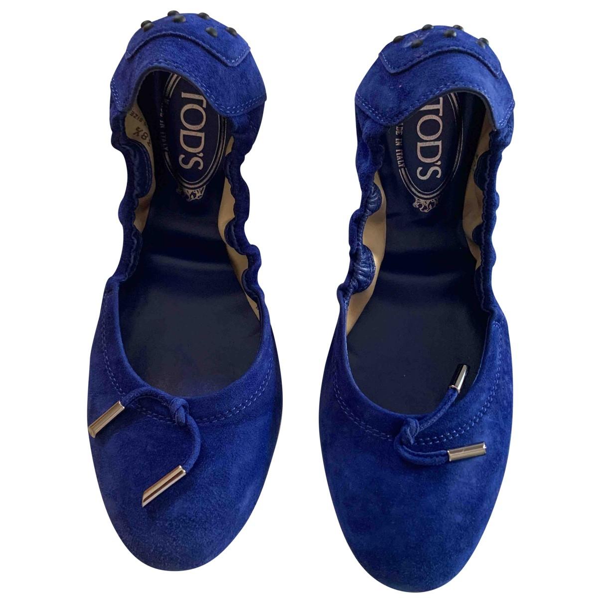 Tods - Ballerines   pour femme en suede - bleu