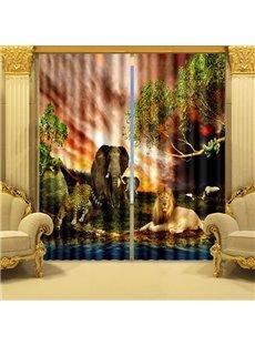 3D Elephant Lion Tiger and Leopard Animals Kingdom Printed Custom Living Room Curtain