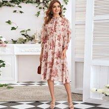 Tie Neck Floral Print Chiffon Overlay Dress