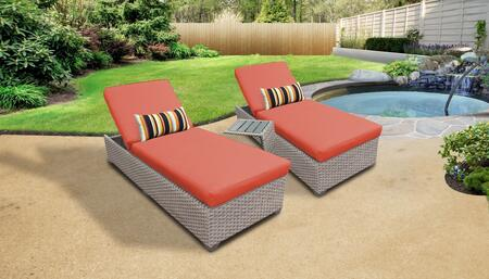 Florence Collection FLORENCE-2x-ST-TANGERINE Patio Set with 2 Chaises   1 Side Table - Grey and Tangerine