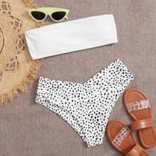 Bandeau Bikini Swimsuit mit Dalmatiner Muster