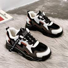 Colorblock Lace-up Plush Chunky Sneakers