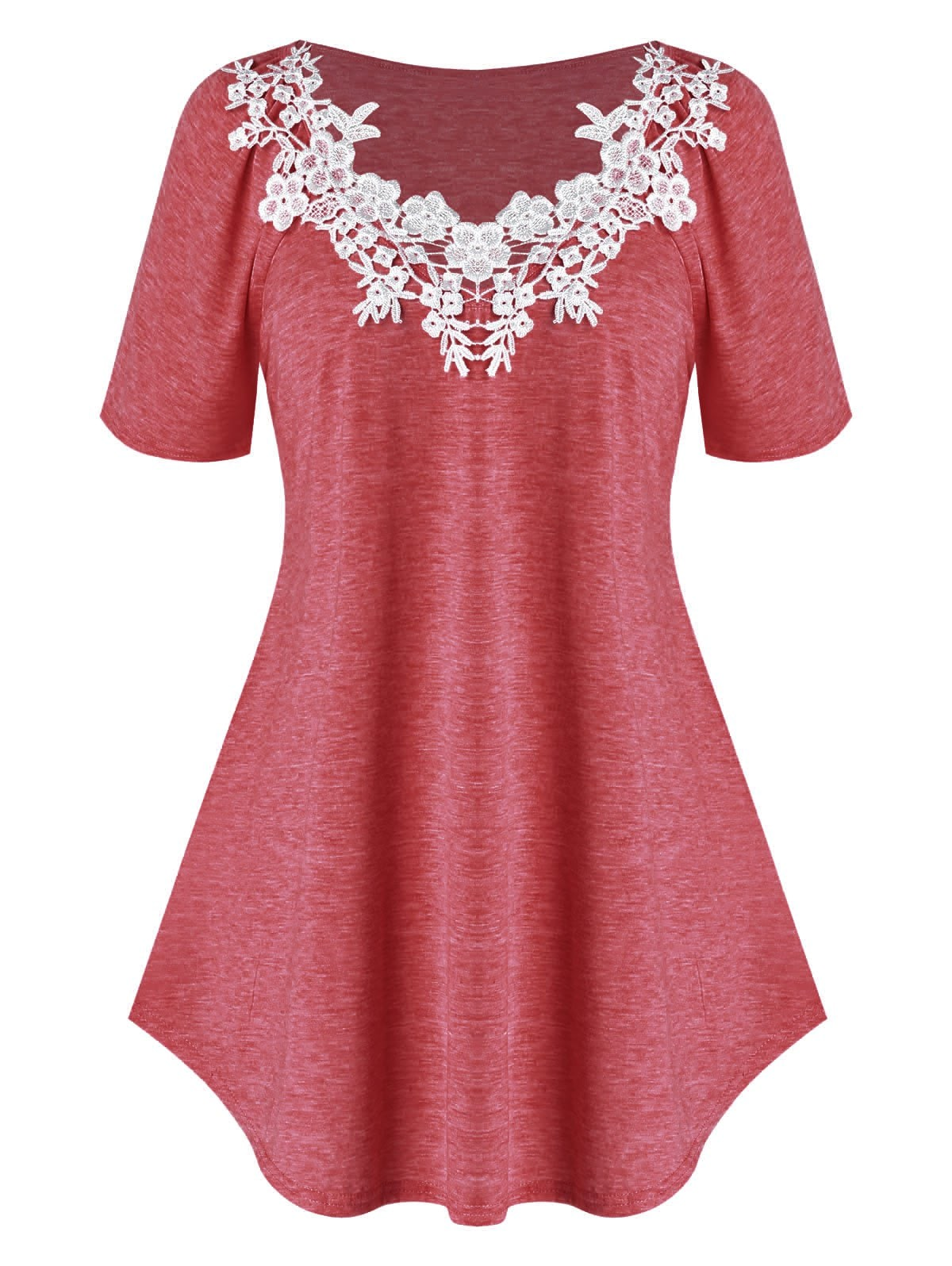 Plus Size Raglan Sleeve Lace Guipure T Shirt