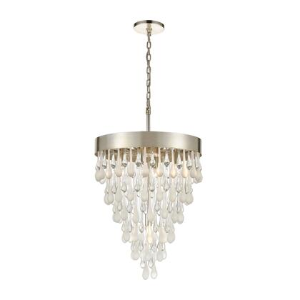 32342/5 Morning Frost 5-Light Pendant in Silver Leaf with Clear and Frosted Glass