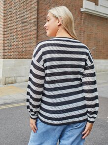 Plus V-neck Striped Drawstring Ruched Sweater