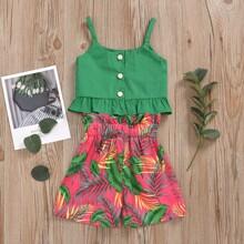 Cami Top mit Rueschenbesatz & Shorts mit tropischem Muster und Guertel