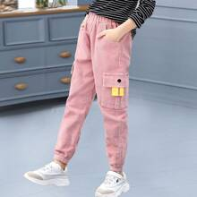 Girls Flap Pocket Corduroy Pants