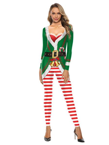 Milanoo La Navidad Papa Noel elastico Zentai Suit Mono